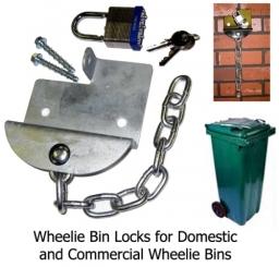 Wheelie Bin Locks - for domestic and commercial wheelie bins