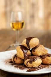 Profiteroles - soft choux pastries filled...