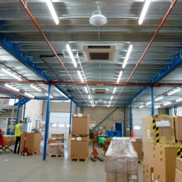 Ceiling Mounted Air Conditioning System In A Warehouse