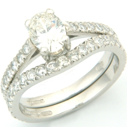 Platinum Two Thirds Diamond Set Fitted Wedding Ring