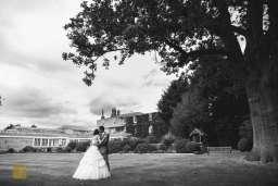 bride and groom gardens Rowton Hall