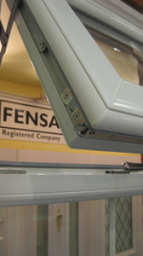 Close-up of our Deceuninck profile which we install, Fensa logo in background