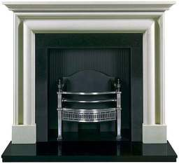 Stone fireplace surround and fire baskets