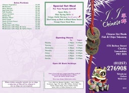 JJ Chorley Chinese Takeaway Menu 1