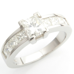 Claw And Channel Set Princess Cut Diamond Engagement Ring