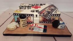 65th birthday cake with edible photos