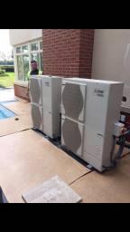 2x 11 kw Mitsubishi Air Source Heat Pump install