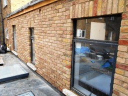 brick slips installed to an extension London