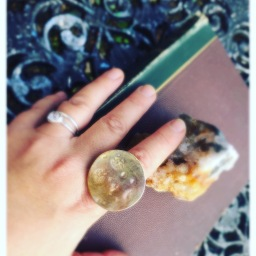 Brass & Recycled Sterling Super Moon ring textured