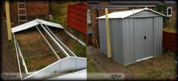Metal Shed installation after cowboy try