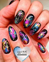 Fireworks nails using ink London foils