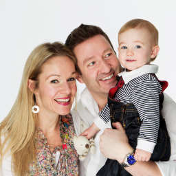 Studio family portrait on white background