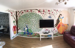 Indian art lounge feature wall