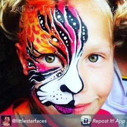 Little star faces face paint tiger