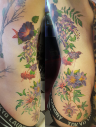 realistic flowers  London Blue Lady Tattoo