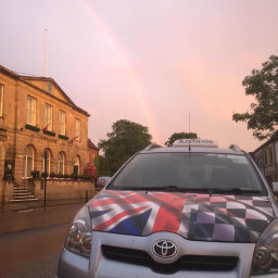 Taxi pickup at Glastonbury Town Hall