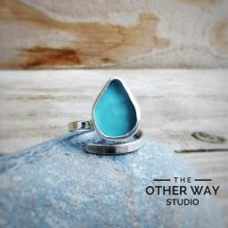 Handmade Silver Seaglass Adjustable Ring in Aqua