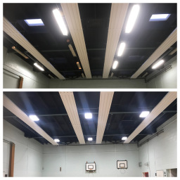New School Gym LED Lighting before & after