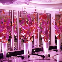 Pink Orchids & Monarch Butterflies