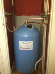 Hot water copper cylinder installation in Aylesbury