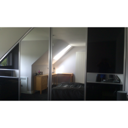 Tuscany Chrome/silver mirror/panel with mid rails (Angled doors)
