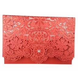 Shadicards.com | LC 6017 RED LASER CUT POCKET INVI