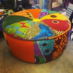 Afrotechnicolour ottoman footstool