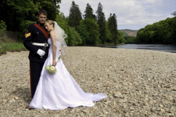Wedding portrait on the Tay at Dunkeld House Hotel