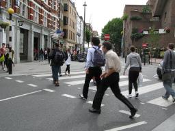 Pedestrians on a crossing