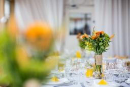 Yellow coloured wedding dinner