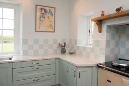 Kitchen in Farrow and Ball Teresa Green.
