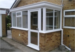 PVCu Porch With Solid GRP Roof