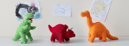 Knitted dinosaur toys