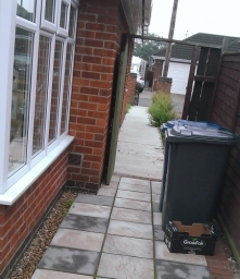 Concrete path and slabbed patio , re layed Nottingham .