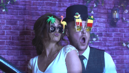 A bride & groom give our props a go