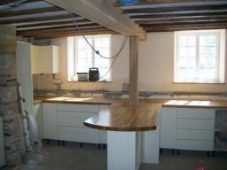 Solid Oak worktops fitted in an as yet unfinished kitchen