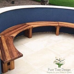 Curved Iroko Garden Bench