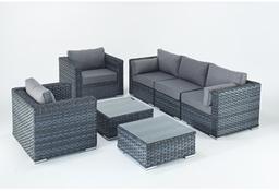 Port Royal Platinum Rattan Garden Sofa Set