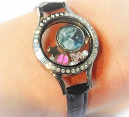 Leather Strap Floating Locket with Charms