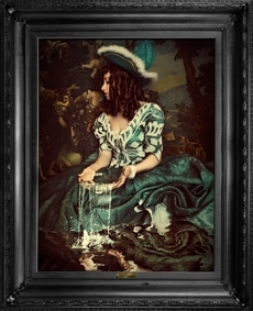 'Water is not enough...' - Ornate framed canvas print