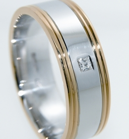 Men wedding band- 2 tone with diamond