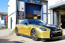 Nissan GTR Gold chrome,Prestige car wrap,