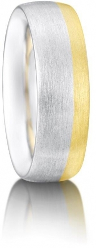 Two colour gold  brushed finish wedding ring