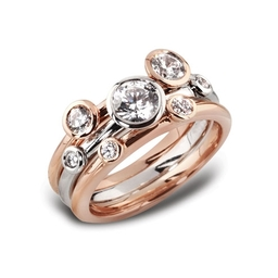 Three Stacking Rings In 18ct  white and rose / red gold Gold
