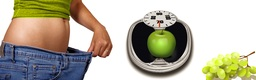flat belly, apple on sclaes and grapes = fitness