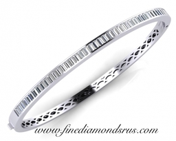 Baguette Cut Diamonds Bangle in Gold and Platinum at Fine Diamonds R us