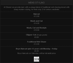 Gents Price List