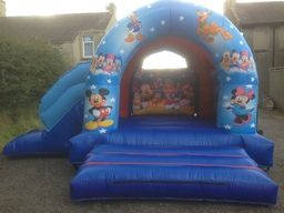 Large outdoor Mickey and Minnie with slide