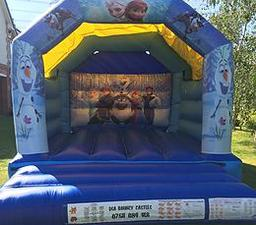 DISNEYS FROZEN BOUNCY CASTLE 12 X 15 FT This Bouncy Castle is suitable for Children up to 15 years of age only The Castle can hold 6 to 8 users at a time There is a sewn in rain cover which is suitable for light rain The required space for this Bouncy Cas