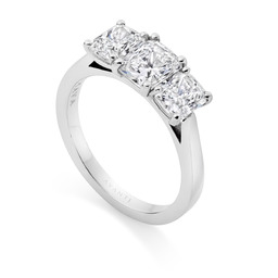 Three stone radiant cut diamond engagement ring